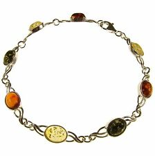 "8"" inch/20cm BALTIC AMBER STERLING SILVER 925 LADIES BRACELET JEWELLERY JEWELRY"