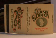Rare Vintage Matchbook Cover K3 Canada Quebec Cousin Germaine Restaurant Bar