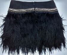 ICONIC 14 TOPSHOP BLACK OSTRICH FEATHER JEWEL FUR MINI SKIRT