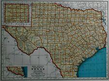 L@@K! Vintage 1939 World Atlas Colored Map of Texas, TX  & South Dakota, SD OLD