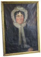 Antique 19th Century Victorian Woman Portrait Oil Painting Bonnet Colonial