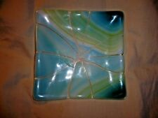 """FUSED GLASS 5.5"""" PLATE STAINED GLASS MOSAIC BLUES TO GREENS WHITE SIGNED SABOL"""