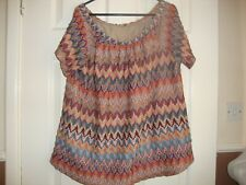 NEW F&F SIZE 18 ORANGE MULTI   FINE KNIT TOP ON OFF SHOULDER LINED