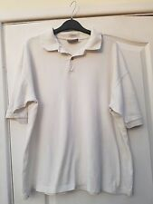 BHS WHITE COTTON  BUTTON COLLARED POLO SHIRT T-SHIRT TOP - MEDIUM