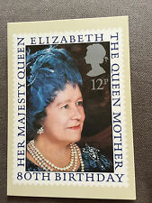 "1980 ROYAL MAIL ""QUEEN MOTHER 80TH BIRTHDAY"" STAMP PHQ 45 POSTCARD"