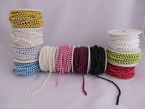5MM Pearls stringed pearl beads/beads on a string/reel  - Choice of colour
