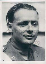 1935 US Army Aviator Captain Albert Hegenberger Press Photo