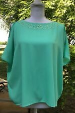 LILY PULITZER Green Silk Blouse Gold Embellishments  Size S Small