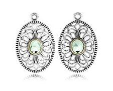 Pandora Retired 925-14k 290678ssgr Vintage Allure green earring charms NWOT