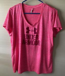 Under Armour Women's Short Sleeve Heat Gear Size Large Pink