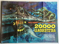 ORIGINAL UK QUAD DISNEY FILM MOVIE POSTER 20,000 LEAGUES UNDER THE SEA ~ BYSOUTH