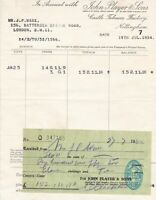 In Assc.With John Player & Sons 1954Castle Tobacco Factory Stamp Receipt  35702