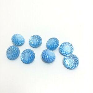 Lot of 8 Vintage Blue Floral Shank Buttons 1 CM