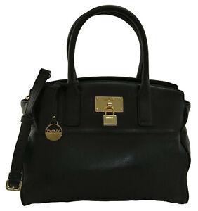 DKNY Donna Karan Satchel Top Handle Bag Black Leather Medium Handbag RRP £275