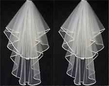 New White or Ivory 2 T Wedding Bridal Veil Satin Edge With Comb Elbow Length