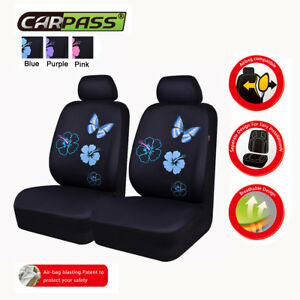 Universal Car Seat Covers Blue Butterfly 2 Front Airbag 6 PCS For SUV VAN TRUCK
