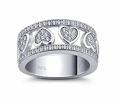 Heart Design Ring Sterling Silver 925 With Pave Set White Cubic Zirconia Stones