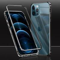 Metall Bumper iPhone 12 Pro Max Mini Magnet Case Schutz Hülle Glas Cover Tasche
