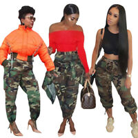 New Women Fashion Camouflage Print Casual Club Bandage Loose Pants Trousers