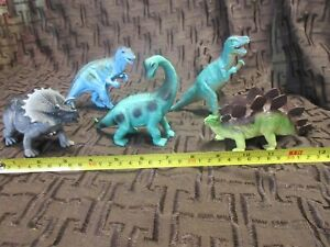 Vintage Lot 5 Dinosaurs 80s, toy rubber/plastic