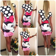 Women Mickey Minnie Mouse Slim Fit Pencil Dress Casual Party Bodycon T-shirt Top