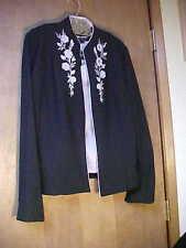 2pc Sag Harbor Ladies Black Floral Jacket & Sleeveless Lavender Blouse-Size 8
