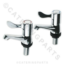 """PAIR OF 1/2"""" INCH FITTING BASIN SINK TAPS LEVER HEAD TYPE HOT & COLD 1/4 TURN"""