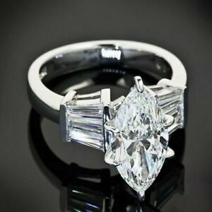 Vintage 3Ct Marquise & Baguette Wedding Promise Cocktail Ring 14K White Gold Fn