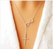 Women's Fashion Jewelry Charm Infinity Cross Necklace Silver Plated