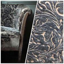 1 Yard Remnant- Velvet Chenille Burnout Fabric - Antique Steel Blue