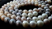 """Multi-colored fresh water pearl necklace 34"""" long, 94 pearls strand, 8.4 -9.9mm"""