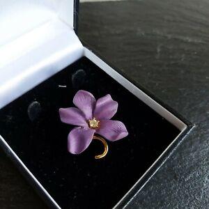 JOAN RIVERS Purple Resin Flower Brooch, Rhinestone Accent Gold Tone Classic