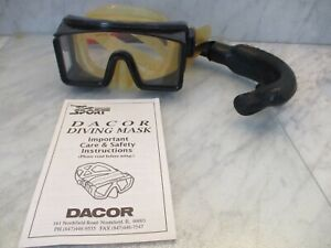 Vintage DACOR Glass Tempered Lens Snorkel Scuba Goggles 1 Set with Snorkel