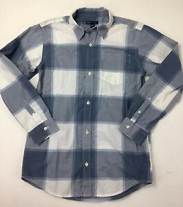 Boys Gap Kids Shirt, Size XL.  Blue, White Plaid.  Measurements Shown.