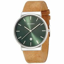 Skagen Men's SKW6183 Ancher Green Dial Light Brown Leather Watch