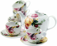 Royal Albert Country Rose 9 Piece Tea Set Teapot 4 Cups & 4 Saucers New In Box