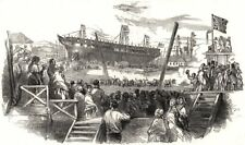 """Launch of the """" Blenheim """", East Indiaman, at Newcastle-upon-Tyne, print, 1848"""