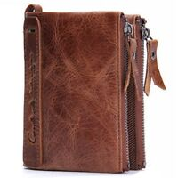 High Capacity Men Genuine Leather Cowhide Wallet Bifold Coin Purse Card Holder