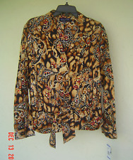 NWT JONES NEW YORK BROWN PRINTED TIE FRONT COTTON CAREER BLOUSE SIZE XL $79
