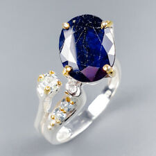 Handmade Natural Blue Sapphire 925 Sterling Silver Ring Size 8.5/R121181