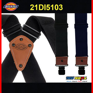 Dickies Men's Worker Suspender Heavy Duty Nylon X-Shaped Industrial Thick 5103