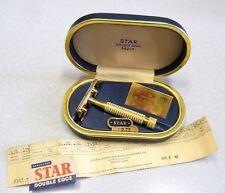 Vintage GOLD STAR DE Model 100 Safety Razor Set in Case w NOS Blade