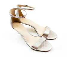 Kitten Heel Sandal Womens Size 12 Pewter Ankle Strap Open Toe Nine West Leisa