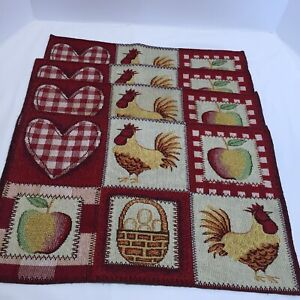 """4 Rooster Apple Eggs Placemats Tapestry 19.5"""" x 12.5"""""""