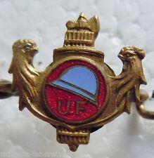Insigne boutonnière 1914 /1918 WWI ANCIENS COMBATTANTS U.F. Casque ORIGINAL