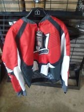 NEW RED WHITE BLACK ICON OVERLORD MOTORCYCLE JACKET SIZE X-LARGE FREE SHIP