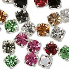 10 Silver 5mm Czech Glass Rhinestone Rose Montees Beads With 4 Holes for Sew On
