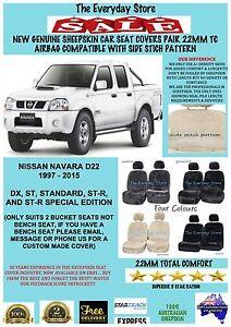 Nissan Navara D22 97-15 Genuine Sheepskin Car Seat Covers Pair 22MM Airbag Safe