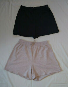 THE LIMITED FREESTYLE 2-Pc Cotton Sport Casual Drawstring Shorts L Black Gray