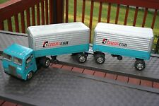 NICE TIN FRICTION POWERED TRANSCON LINES TRUCK W/ PIGGY BACK TRAILERS IN BOX